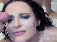 Searing brunette with beautiful face is coming to fulfill her mission and swallow all loads 6