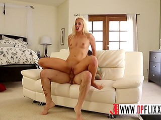 Blonde wife spreads legs in front of husband hinting shaved pussy misses his dick a lot