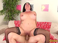Mature woman with big tits always keeps smiling when handsome guy fucks her in all poses