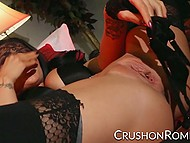 Drop-dead gorgeous pornstar Romi Rain in fashioned stockings plays with panties and pussy 5