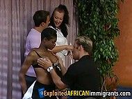 Short-haired African honey and her white neighbor have fun with energetic guests