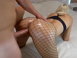 Blonde with bubble butt in fishnet pantyhose rides cock till sperm fills her satisfied pussy