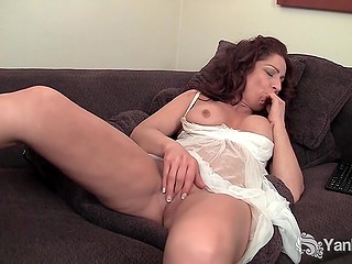 Sensuous female is fantasizing of prince with huge penis and stimulates clitoris with vibrator