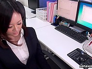 Impressive secretary grabbed adult toys and stimulated unshaven vagina in Japanese video 4
