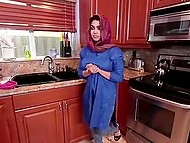 Full-breasted Arab girl comes to perform household affairs for lonely man but he goes to creampie this pussy 3