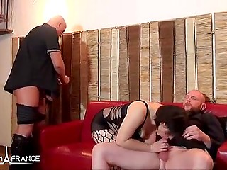 French woman with chubby body is having rough sex all day long with bald men