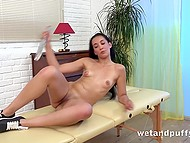 Young masseuse doesn't have any clients today, so she fights boredom masturbating 8