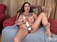 Tattooed female can't stand a day without masturbating her shaved pussy with adult toy 5