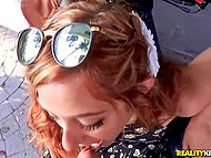 Kind stranger promised to take red-haired babe to festival in exchange for serving dick 4