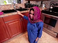 Busty Arab student wants to earn some money helping neighbor with cleaning but gets fucked by him 4