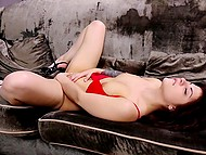 Fiery brunette in high heels and with exotic tattoo pushes sex toy into pink pussy 6