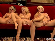 Luxurious ladies with massive hooters suck nipples and tease vaginas on red couch 9