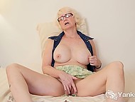 Mature blonde with great breasts spread legs wide and fingered hairy vagina 10