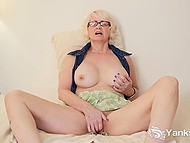 Mature blonde with great breasts spread legs wide and fingered hairy vagina 11