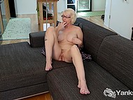 Mature blonde with great breasts spread legs wide and fingered hairy vagina 6