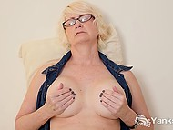 Mature blonde with great breasts spread legs wide and fingered hairy vagina 7