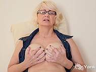 Mature blonde with great breasts spread legs wide and fingered hairy vagina 8