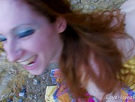 Creamy-skinned French beauty with red hair had hard anal fuck on beach 9