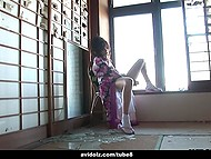 House of lonely Japanese woman was broken by hurricane but she thought just about pleasing hairy pussy 8