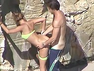 Married couple does it by the rock on beach but doesn't know they getting recorded by curious tourist 6