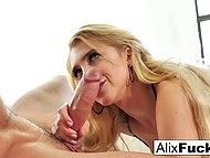 Sultry Alix Lynx in seductive lingerie was sucking dick until felt hot cum on her face 6