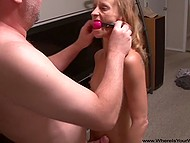Middle-aged pervert gags fragile whore and goes to penetrate both tight holes 5