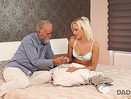 Caring old man gave birthday girl awesome cunnilingus and ride on hard penis 4