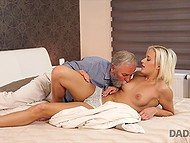 Caring old man gave birthday girl awesome cunnilingus and ride on hard penis 6