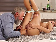 Caring old man gave birthday girl awesome cunnilingus and ride on hard penis 7