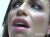 Guys ejaculate of mouth of attractive slut who later gladly swallows all warm sperm 10