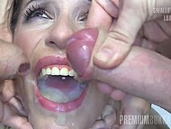 Guys ejaculate of mouth of attractive slut who later gladly swallows all warm sperm 4