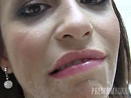 Guys ejaculate of mouth of attractive slut who later gladly swallows all warm sperm 8