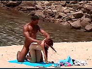 Ebony buddy finds nudist beach where petite chick isn't against some fun with him 4