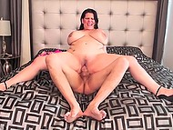 Luxurious BBW in high heels rides penis of experienced fucker in pleasant bedroom