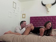 Tattooed beauty energetically fucked by stepbrother after moistening fat penis 5