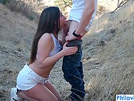Smiling sweet thing brought boy to deserted place and gave him top-class blowjob 8