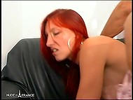 Provocative French with red hair masturbated her holes expecting male's dick inside tight butthole 5