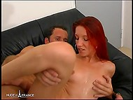 Provocative French with red hair masturbated her holes expecting male's dick inside tight butthole 9