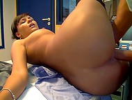 Brunette secretary from Germany was looking too hot in stockings, so boss creampied her warm pussy in office 6