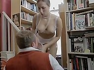 Bookworm from Britain goes mad about librarian with glasses and tempts him among bookshelves 4