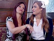 Perfect lady and her young stepdaughter were tied up before severe group anal sex 6