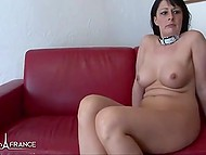 Guys energetically shove dicks into tight holes of dark-haired lady in French video 10