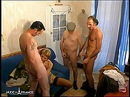Old man and his friends made short-haired French agree for rough group sex 7