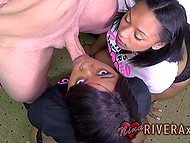 Black-skinned girl Nina Rivera together with adorable girlfriend swallow thick dick 5