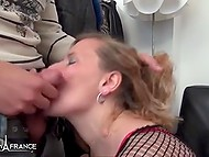 In French video thrilled BBW in fashioned stockings played with male's penis and feet 8