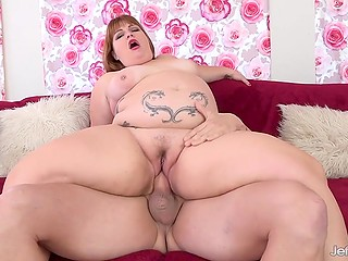 Tattooed BBW with pierced nipples slowly moistened penis awaiting for high-class fuck