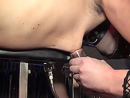Secret room of blonde mistress is full of devices for dominating helpless slave in mask 9