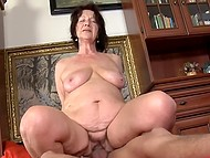 Old female didn't see hard dick for too long and pounced on young stick without many words