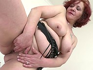 Old chubby woman with red hair sets favorite dildo into play in solo porn video 6