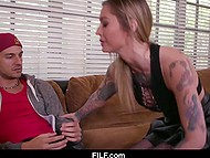 Tattooed female with great tits advised stepson how to behave with girlfriend to make her obedient 3
